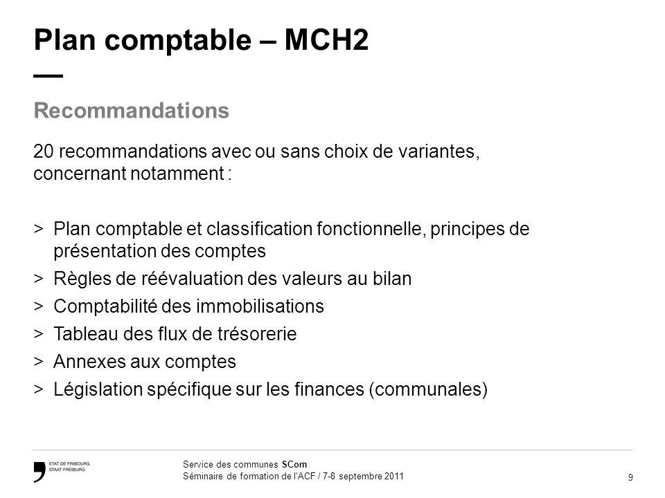 Plan comptable – MCH2 — Recommandations
