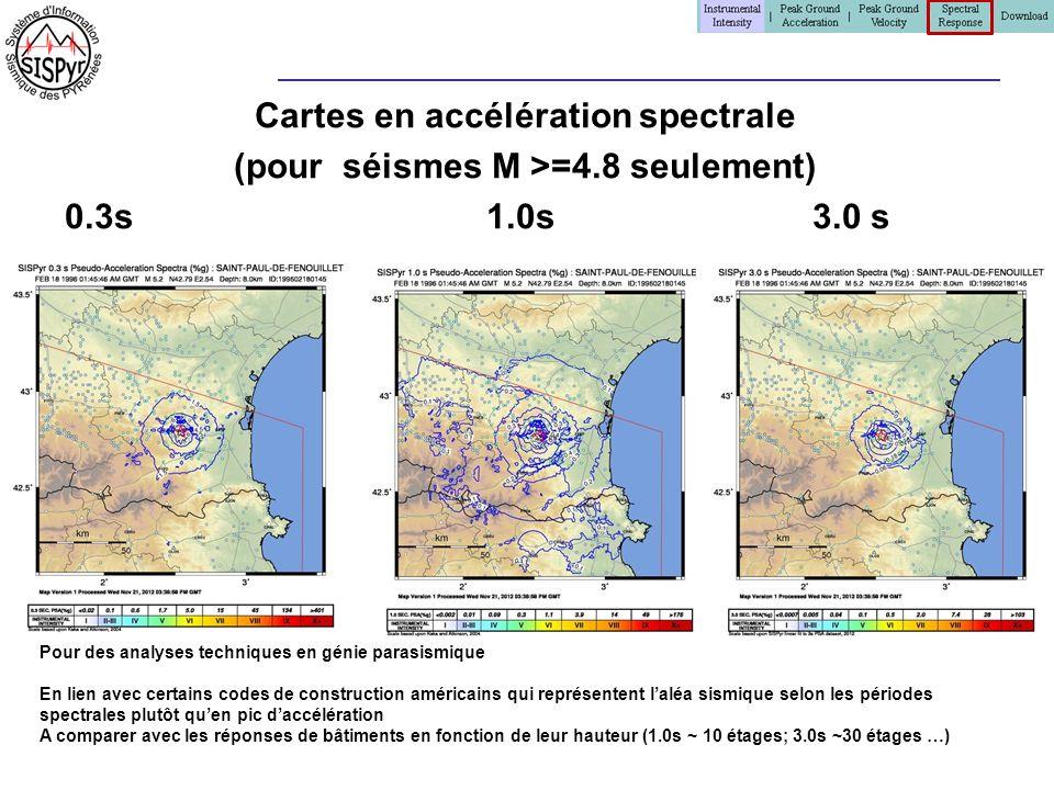 Cartes en accélération spectrale (pour séismes M >=4.8 seulement) 0.3s 1.0s 3.0 s