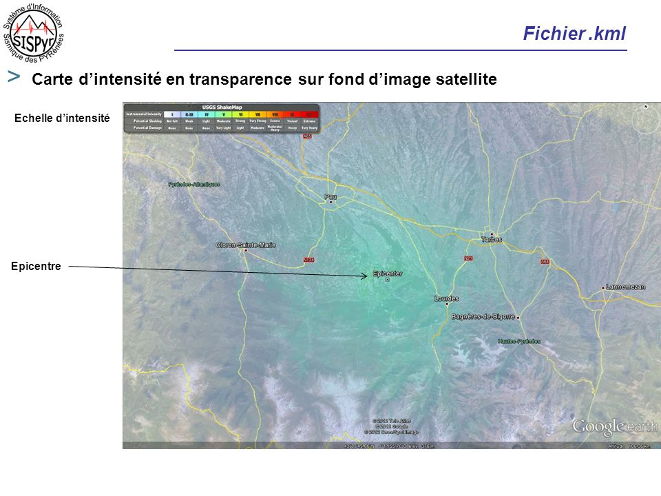 Fichier .kml Carte d'intensité en transparence sur fond d'image satellite.