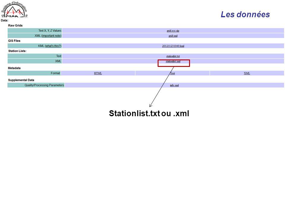 Les données Stationlist.txt ou .xml