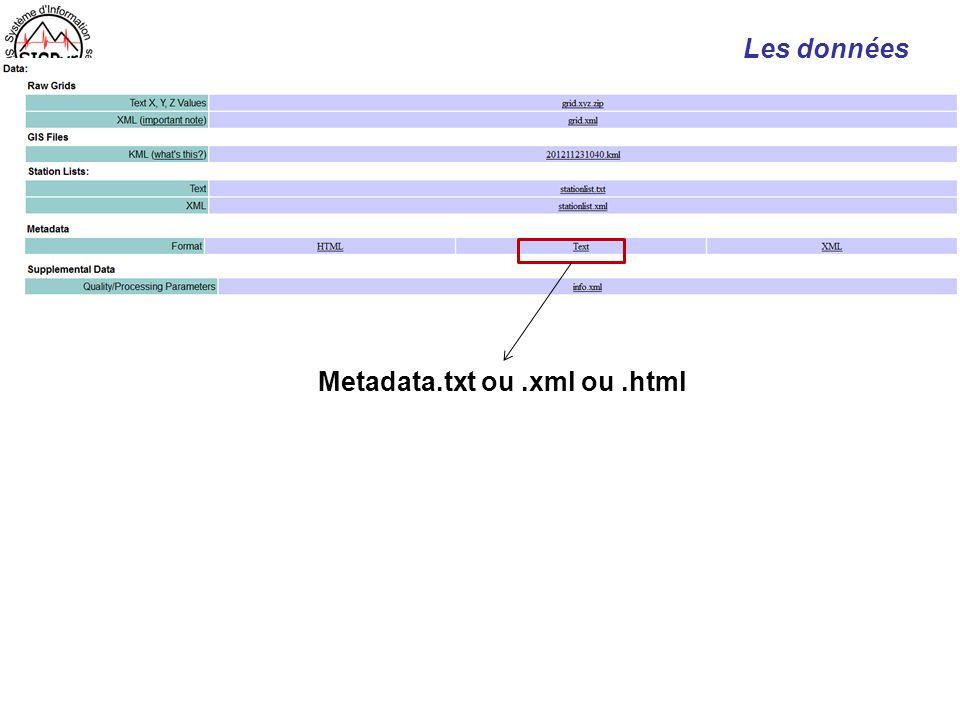 Metadata.txt ou .xml ou .html