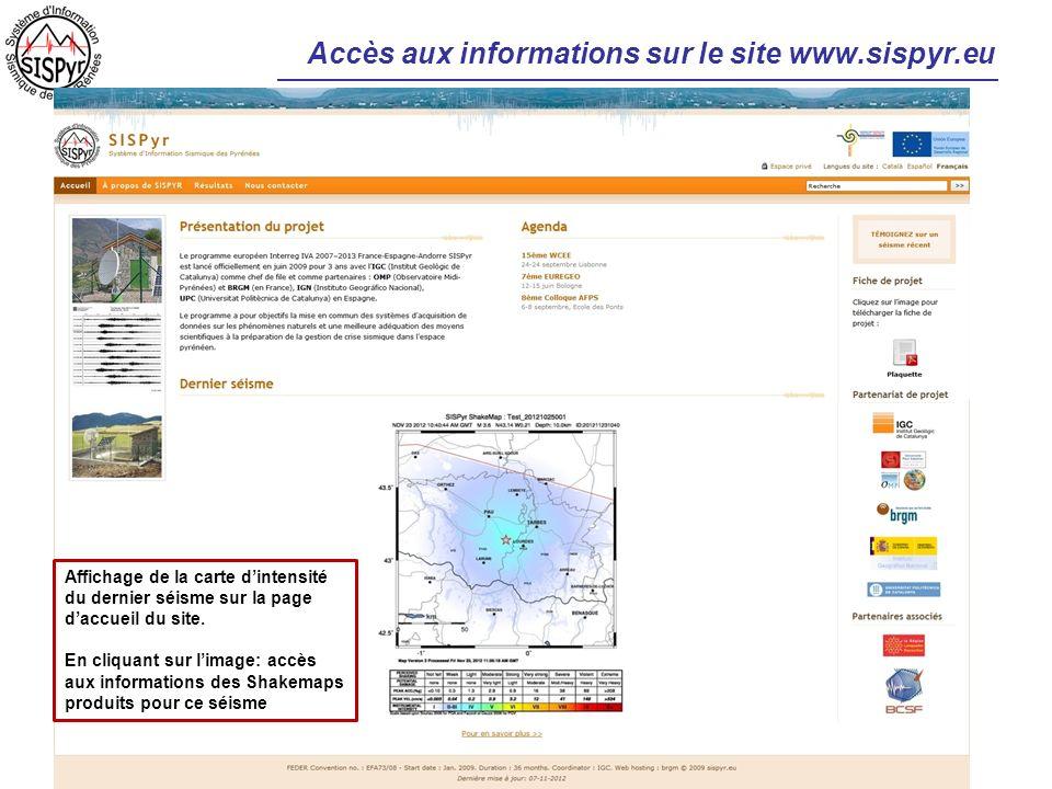 Accès aux informations sur le site www.sispyr.eu