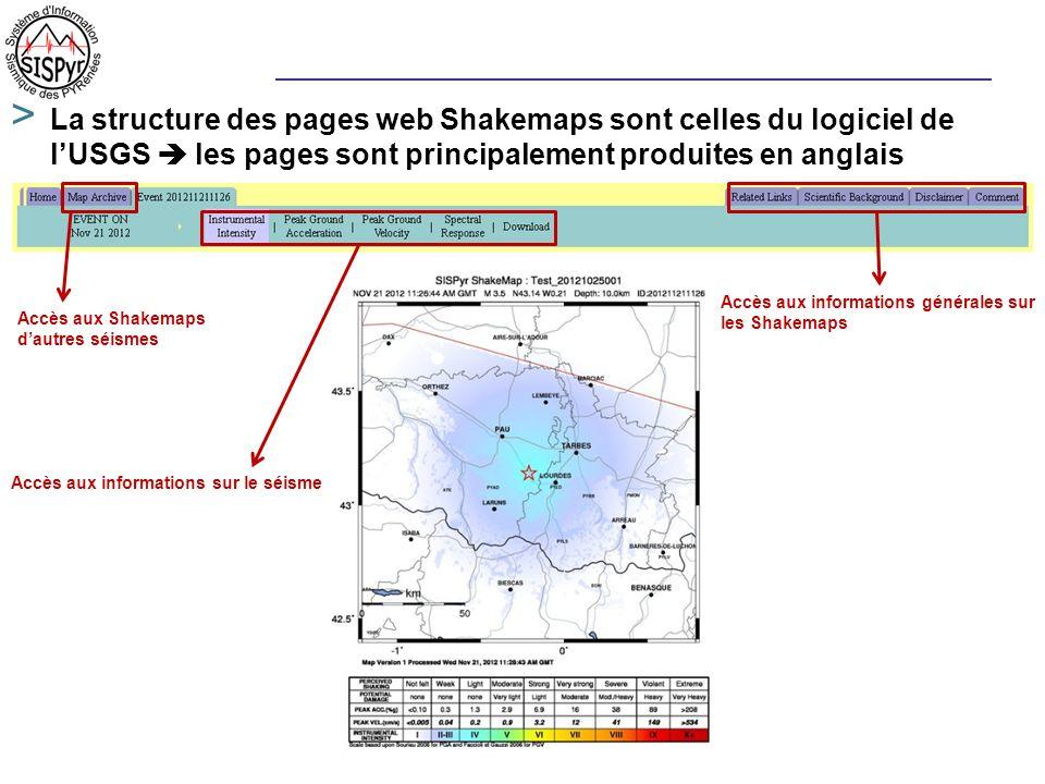 La structure des pages web Shakemaps sont celles du logiciel de l'USGS  les pages sont principalement produites en anglais