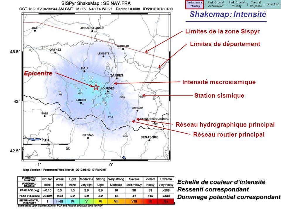 Shakemap: Intensité Limites de la zone Sispyr Limites de département