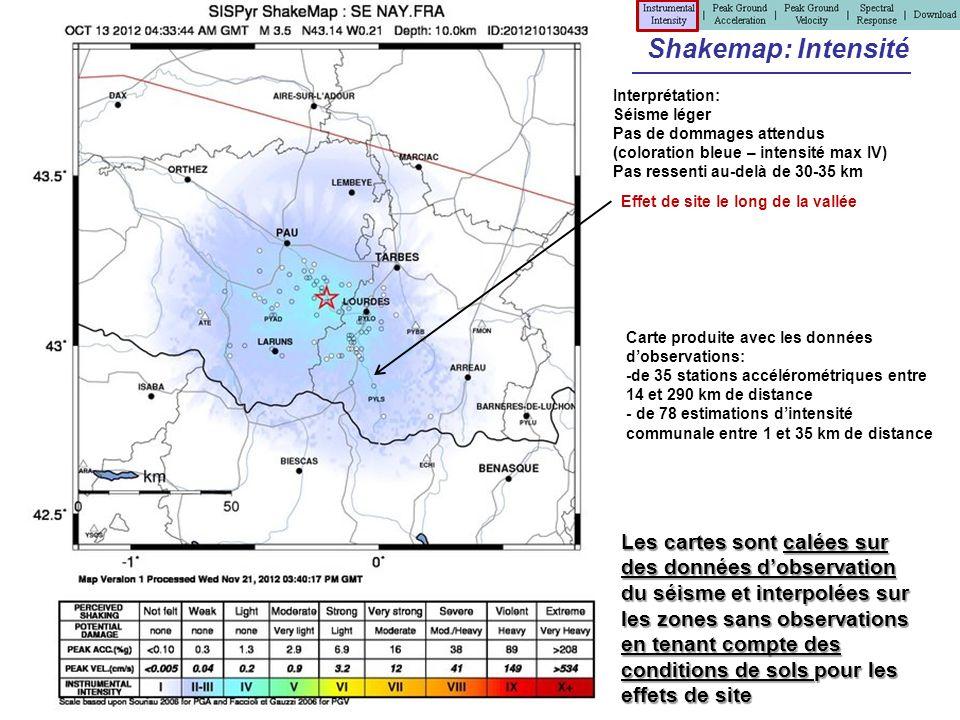 Shakemap: Intensité Interprétation: Séisme léger. Pas de dommages attendus. (coloration bleue – intensité max IV)