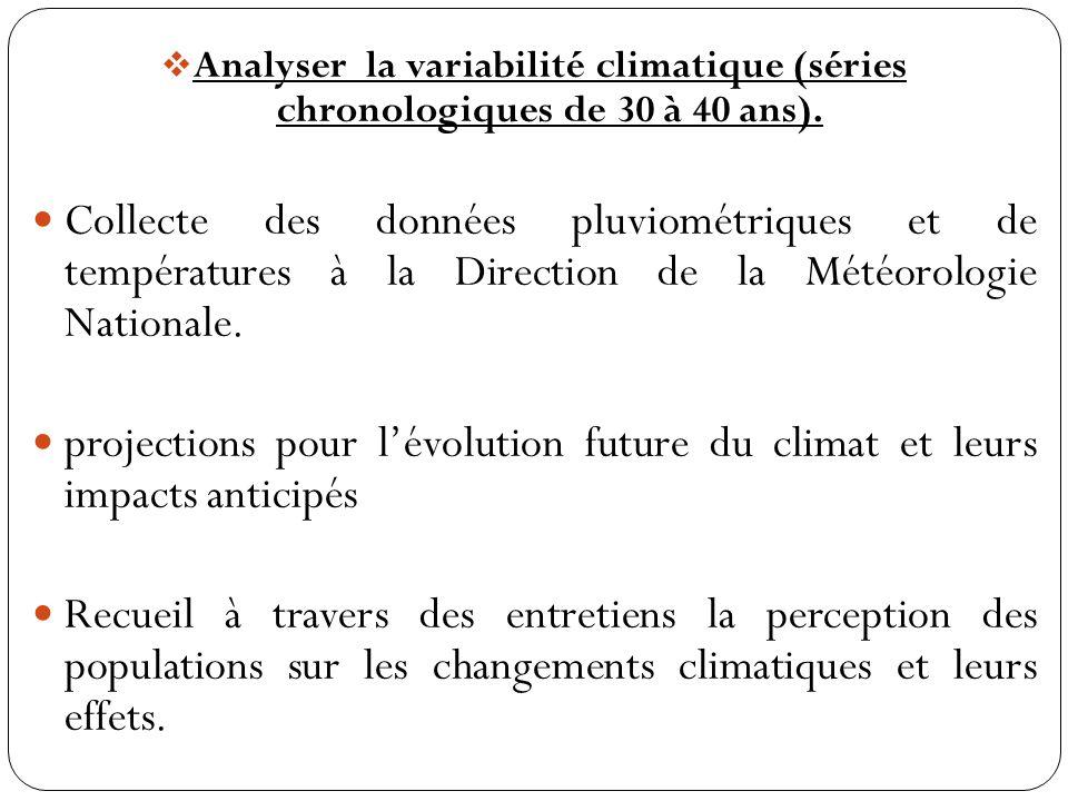 Analyser la variabilité climatique (séries chronologiques de 30 à 40 ans).