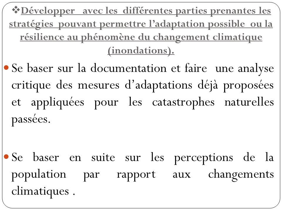 Développer avec les différentes parties prenantes les stratégies pouvant permettre l'adaptation possible ou la résilience au phénomène du changement climatique (inondations).