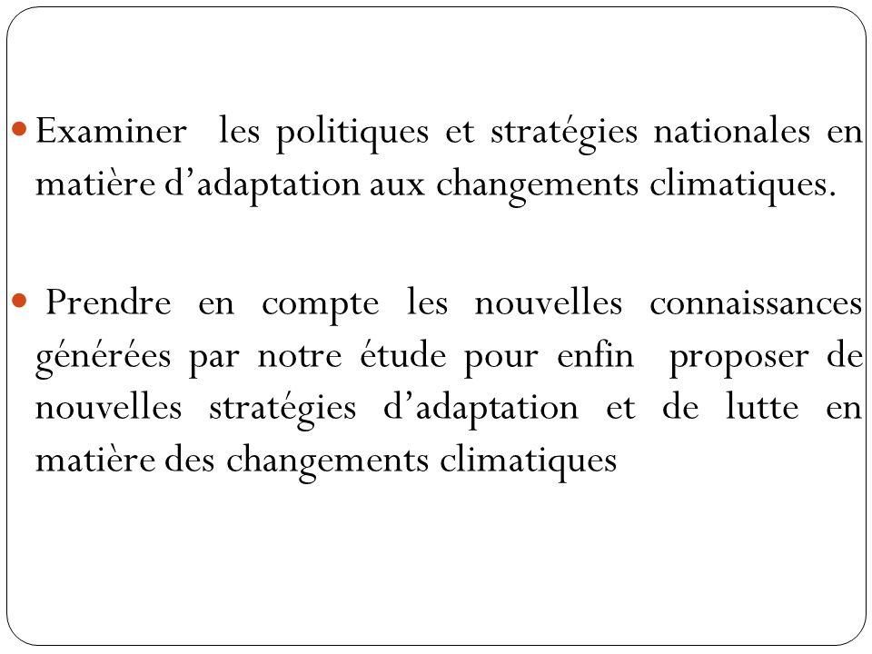 Examiner les politiques et stratégies nationales en matière d'adaptation aux changements climatiques.