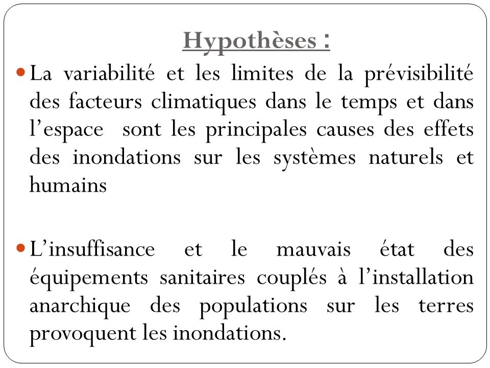 Hypothèses :
