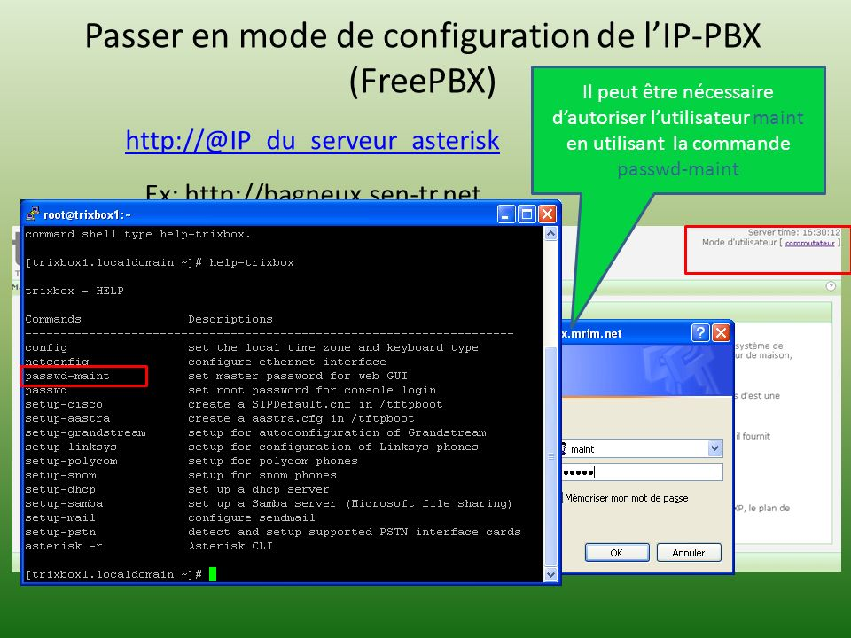 Passer en mode de configuration de l'IP-PBX (FreePBX)