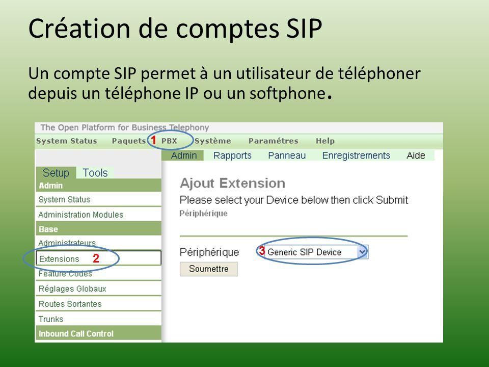 Création de comptes SIP Un compte SIP permet à un utilisateur de téléphoner depuis un téléphone IP ou un softphone.