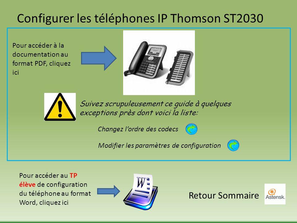 Configurer les téléphones IP Thomson ST2030