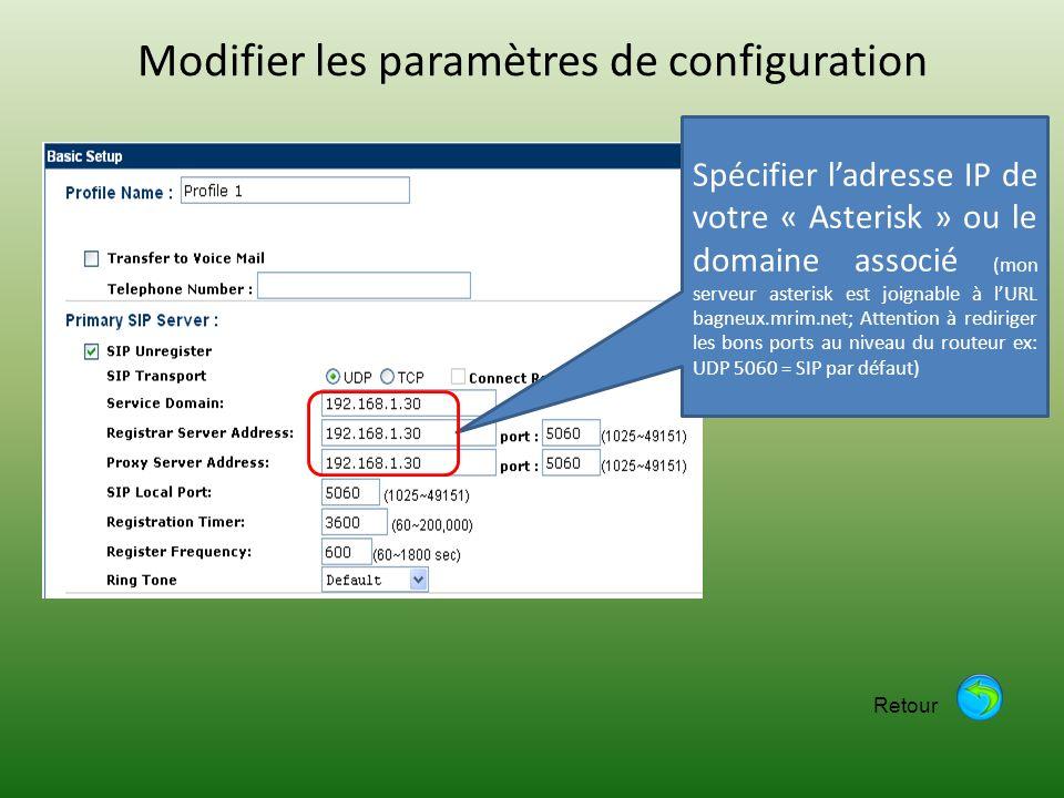Modifier les paramètres de configuration