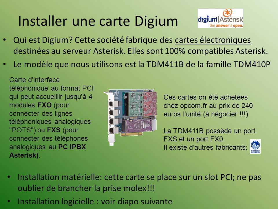 Installer une carte Digium