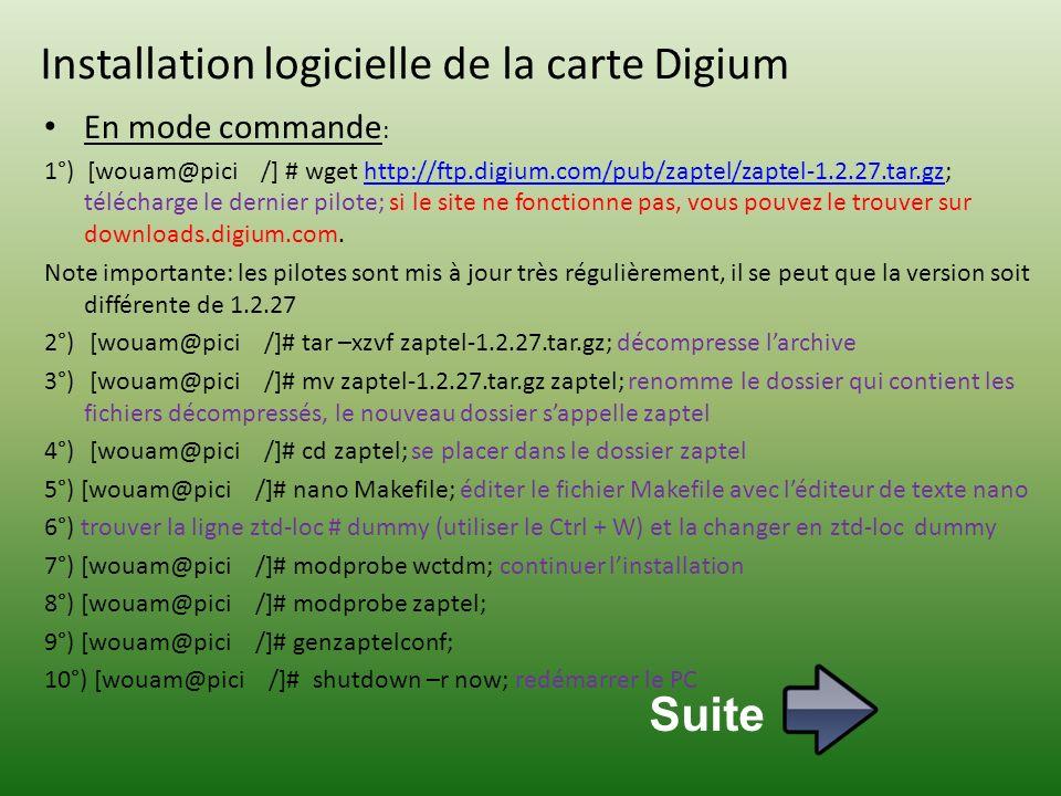 Installation logicielle de la carte Digium