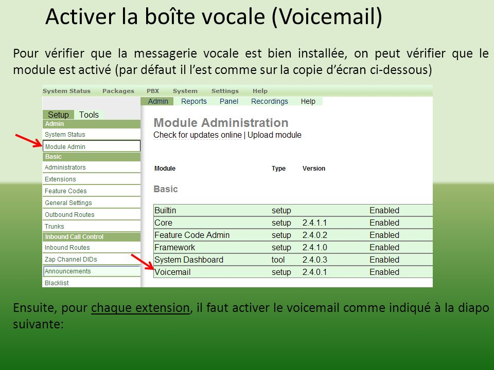Activer la boîte vocale (Voicemail)