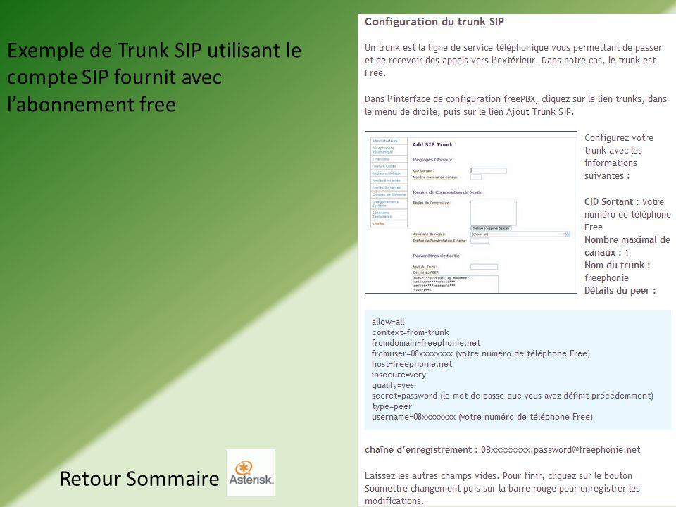 Exemple de Trunk SIP utilisant le compte SIP fournit avec l'abonnement free
