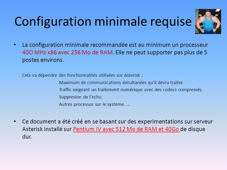 Configuration minimale requise