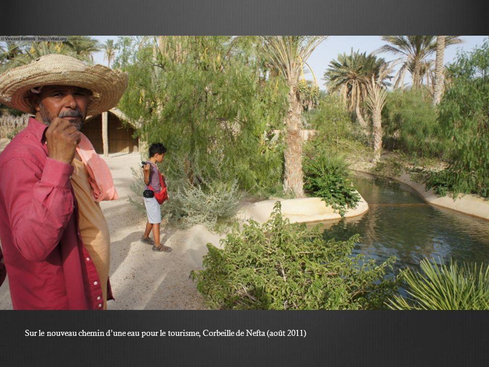 Sur le nouveau chemin d'une eau pour le tourisme, Corbeille de Nefta (août 2011)