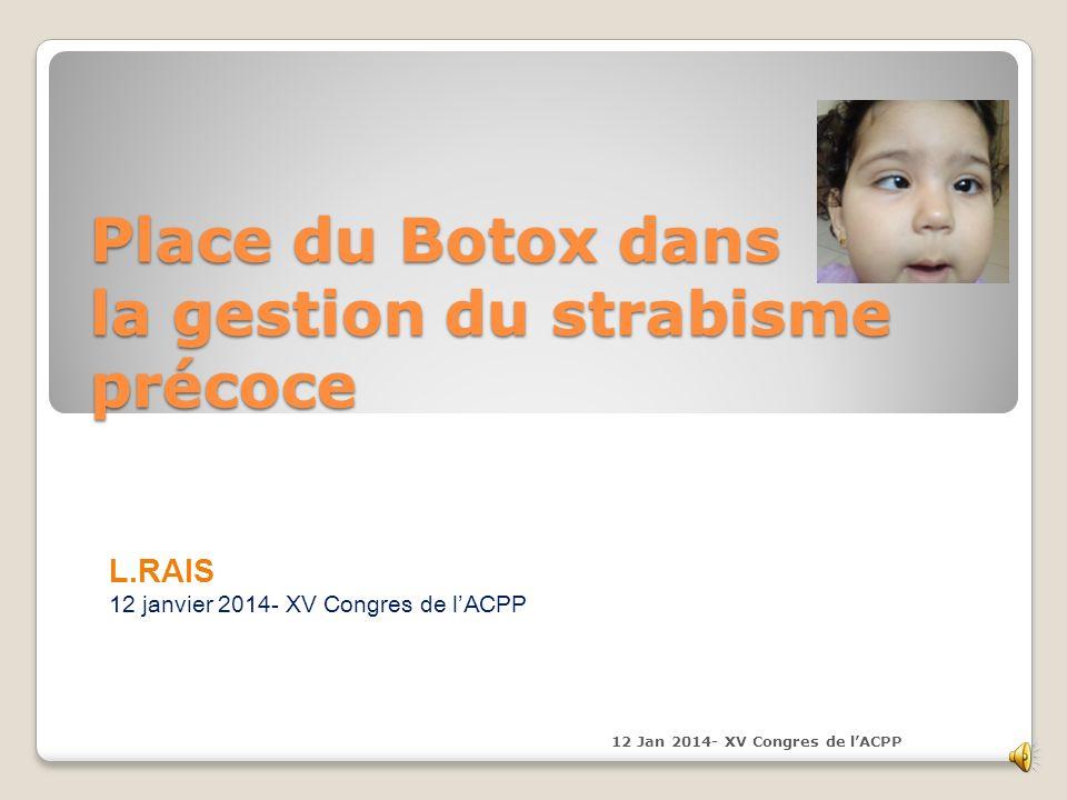 Place du Botox dans la gestion du strabisme précoce