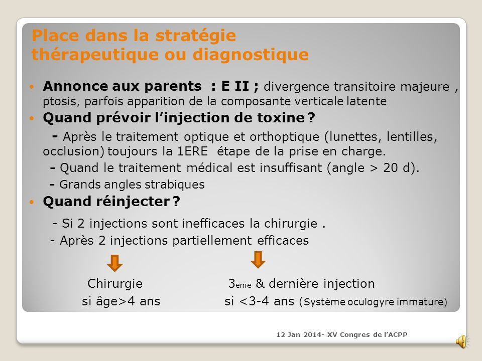 - Si 2 injections sont inefficaces la chirurgie .