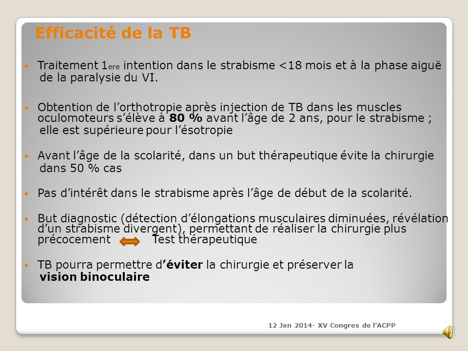 Efficacité de la TB Traitement 1ere intention dans le strabisme <18 mois et à la phase aiguë. de la paralysie du VI.