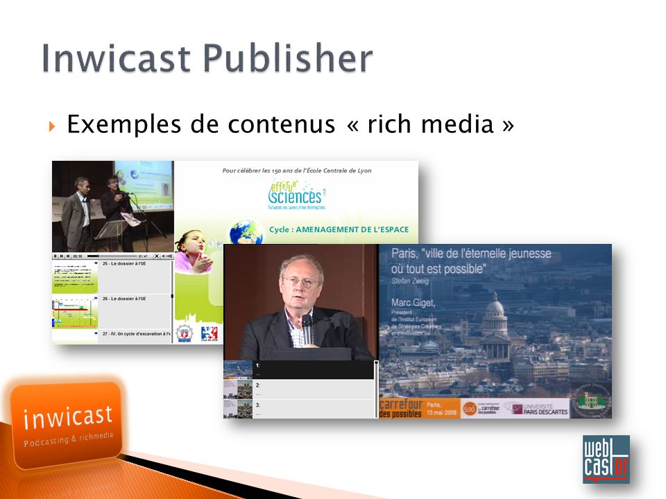 Inwicast Publisher Exemples de contenus « rich media »