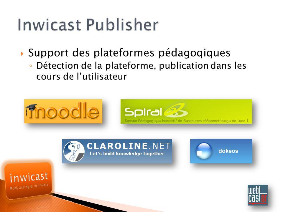 Inwicast Publisher Support des plateformes pédagoqiques