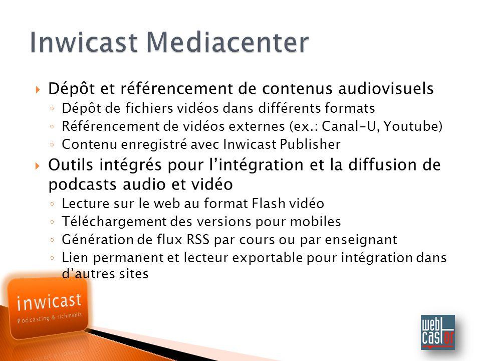 Inwicast Mediacenter Dépôt et référencement de contenus audiovisuels