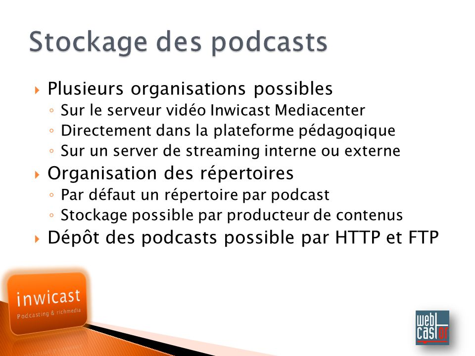 Stockage des podcasts Plusieurs organisations possibles