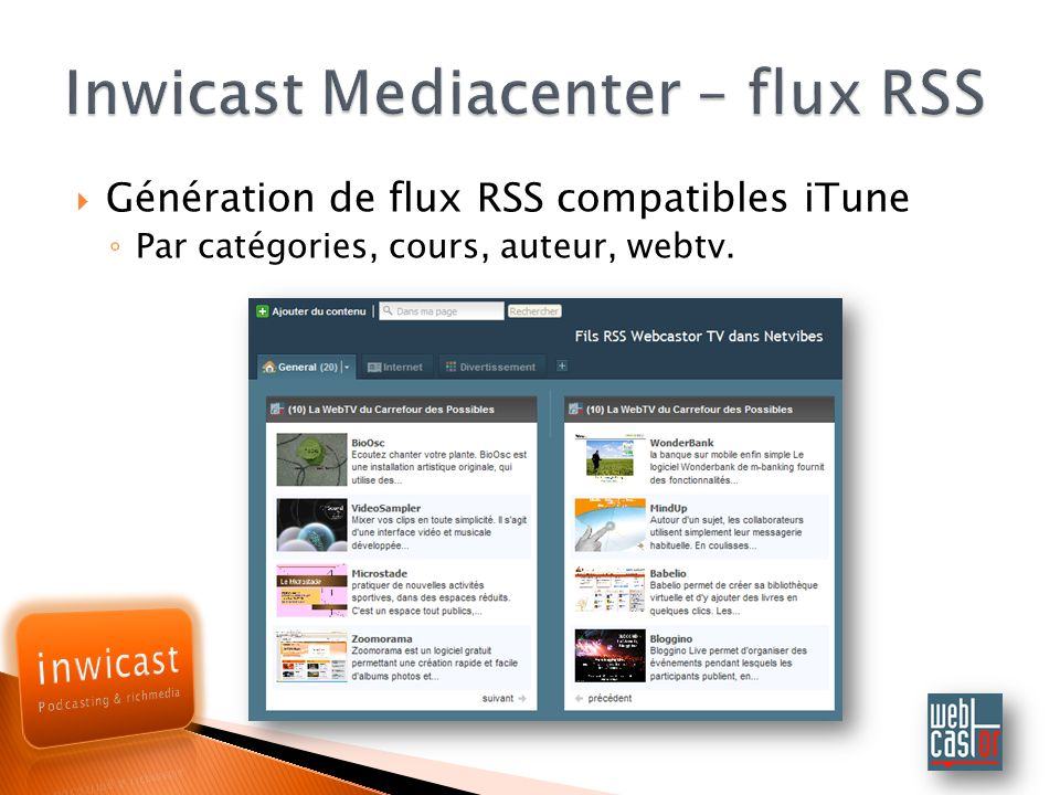 Inwicast Mediacenter – flux RSS