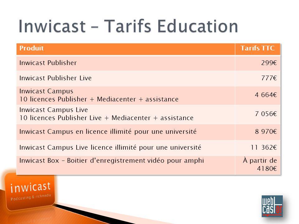 Inwicast – Tarifs Education