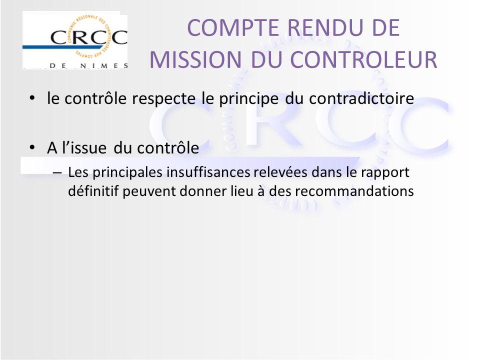 COMPTE RENDU DE MISSION DU CONTROLEUR