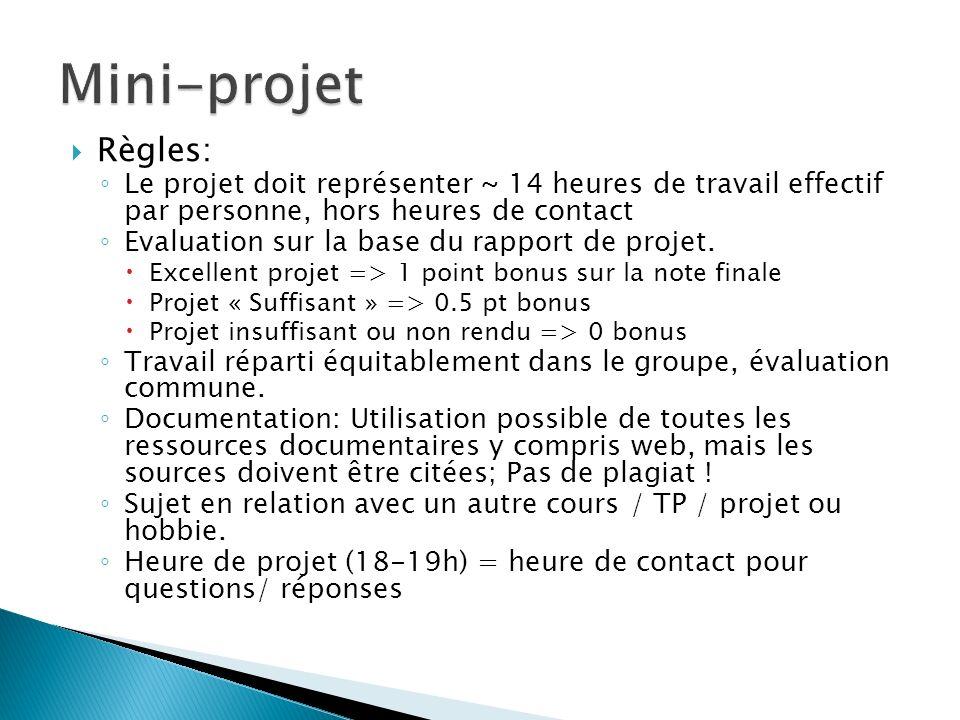 Mini-projet Règles: Le projet doit représenter ~ 14 heures de travail effectif par personne, hors heures de contact.