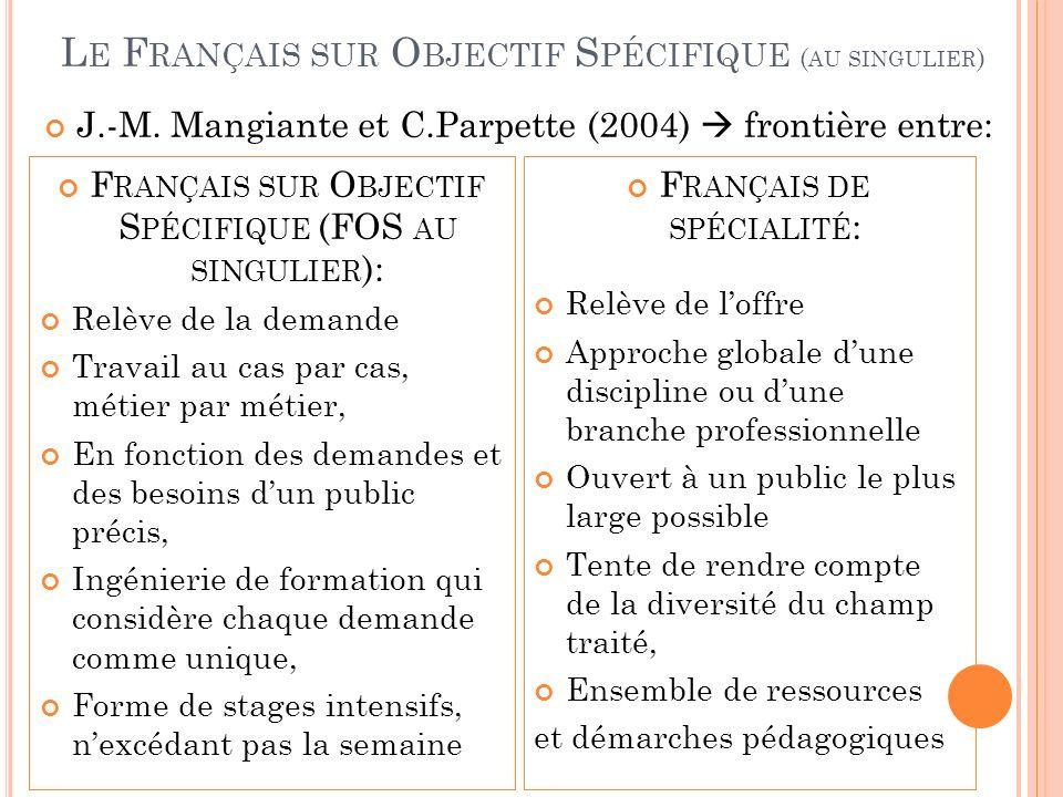 Le Français sur Objectif Spécifique (au singulier)