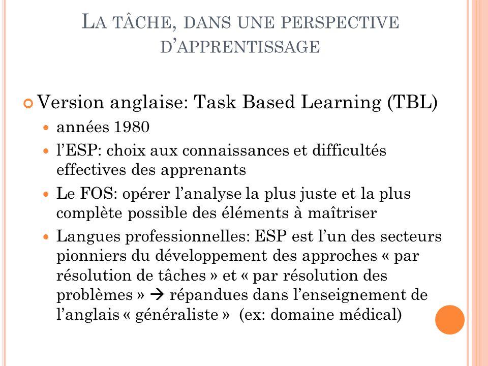 La tâche, dans une perspective d'apprentissage