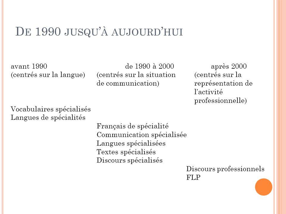 De 1990 jusqu'à aujourd'hui