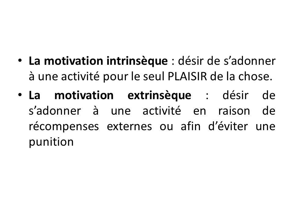 La motivation intrinsèque : désir de s'adonner à une activité pour le seul PLAISIR de la chose.