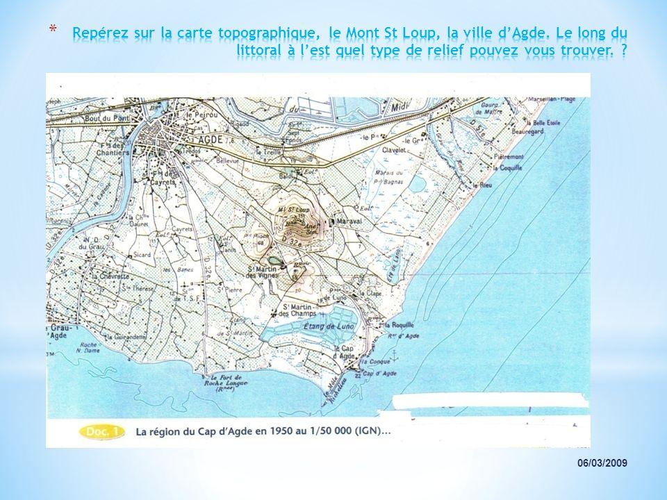Repérez sur la carte topographique, le Mont St Loup, la ville d'Agde