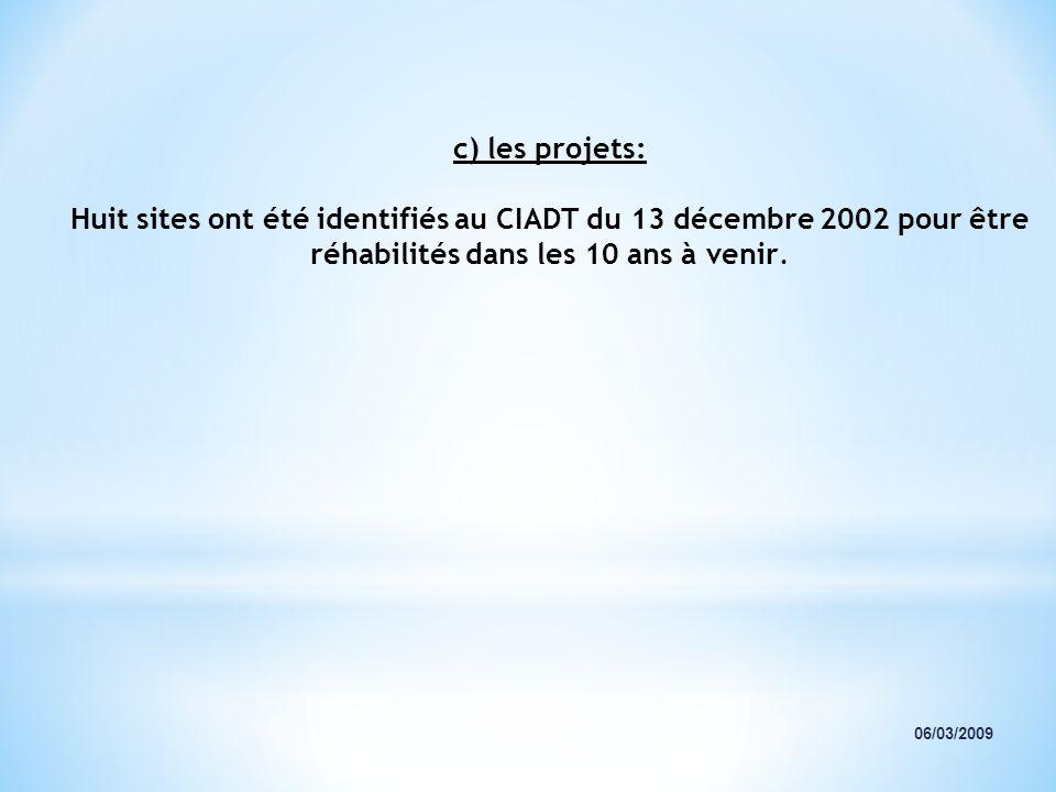 c) les projets: Huit sites ont été identifiés au CIADT du 13 décembre 2002 pour être réhabilités dans les 10 ans à venir.