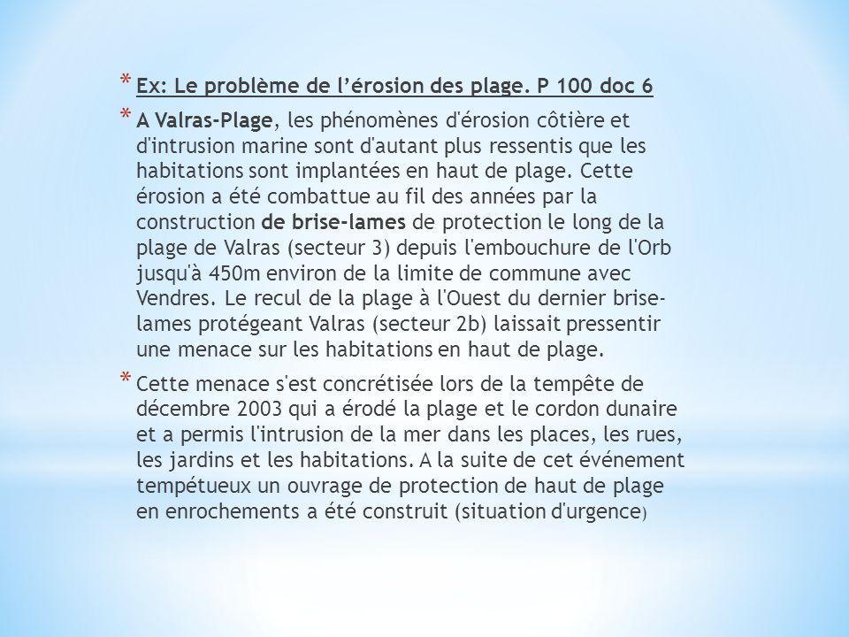 Ex: Le problème de l'érosion des plage. P 100 doc 6