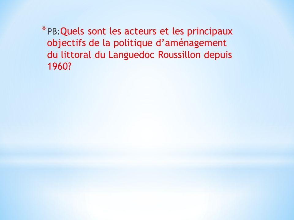 PB:Quels sont les acteurs et les principaux objectifs de la politique d'aménagement du littoral du Languedoc Roussillon depuis 1960