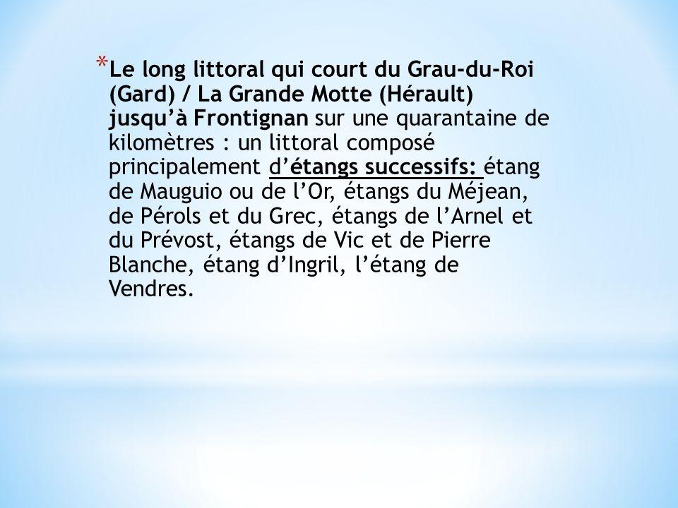Le long littoral qui court du Grau-du-Roi (Gard) / La Grande Motte (Hérault) jusqu'à Frontignan sur une quarantaine de kilomètres : un littoral composé principalement d'étangs successifs: étang de Mauguio ou de l'Or, étangs du Méjean, de Pérols et du Grec, étangs de l'Arnel et du Prévost, étangs de Vic et de Pierre Blanche, étang d'Ingril, l'étang de Vendres.