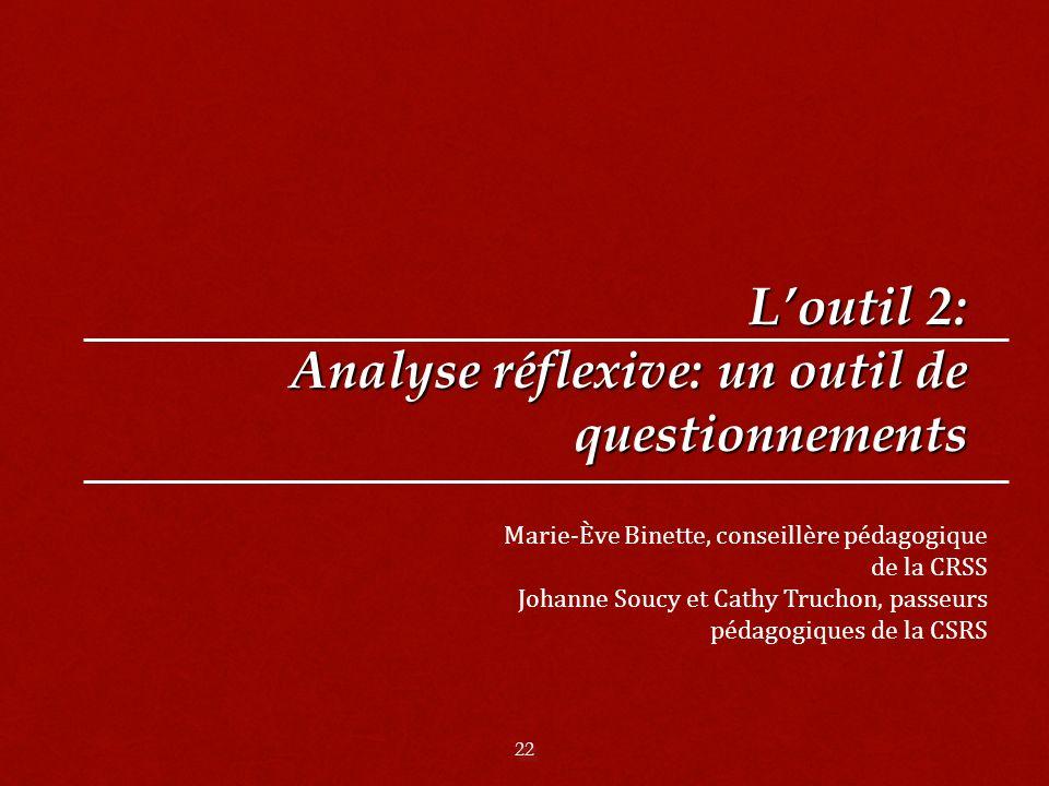 L'outil 2: Analyse réflexive: un outil de questionnements