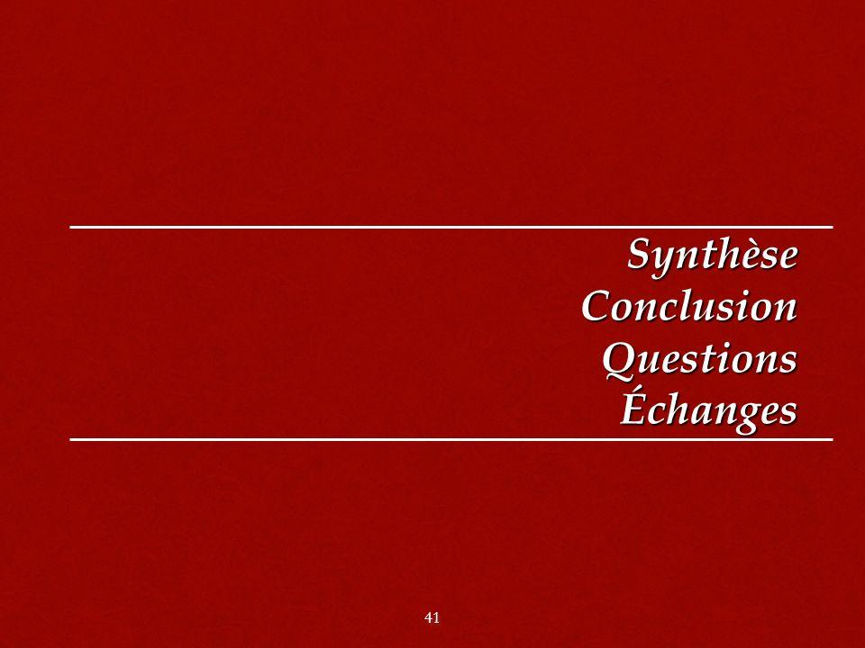 Synthèse Conclusion Questions Échanges