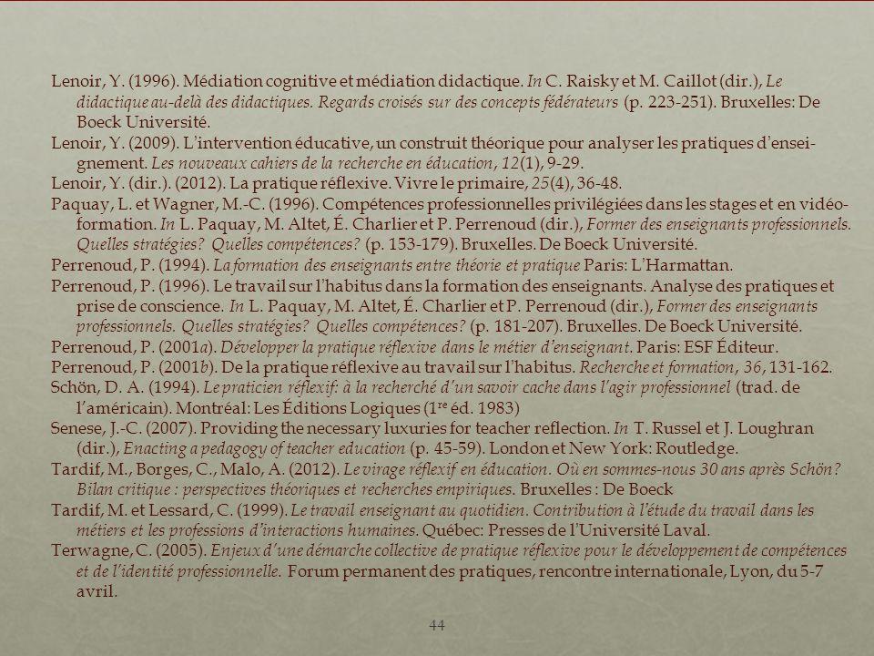 Lenoir, Y. (1996). Médiation cognitive et médiation didactique. In C