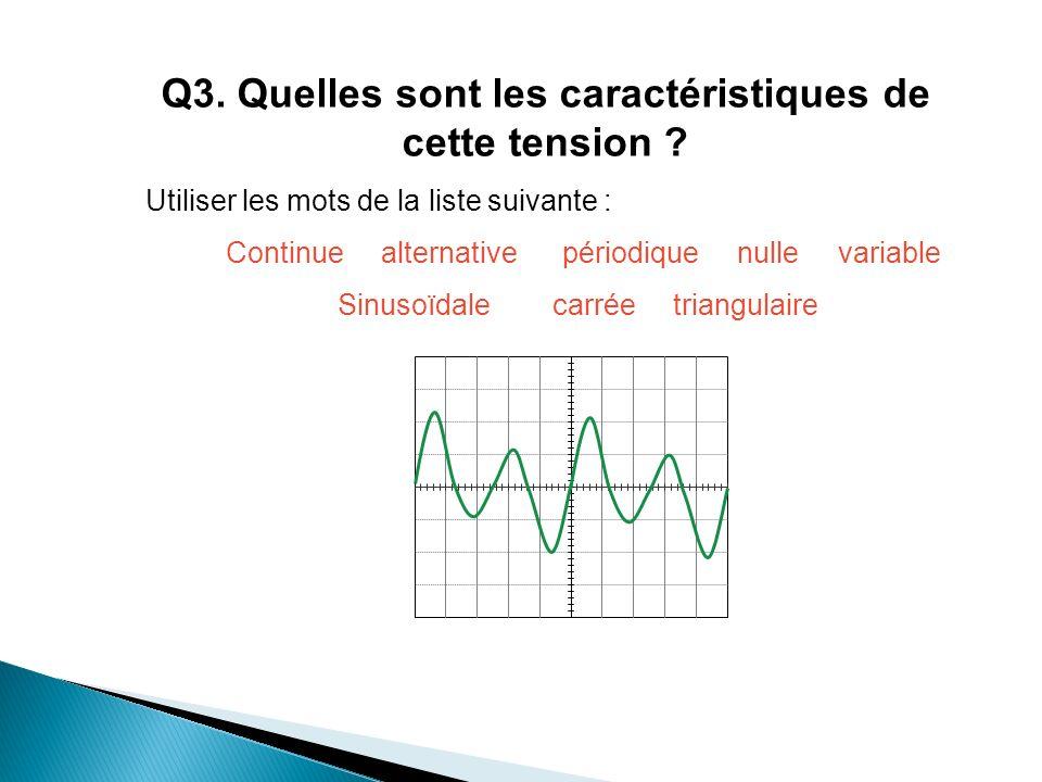 Q3. Quelles sont les caractéristiques de cette tension