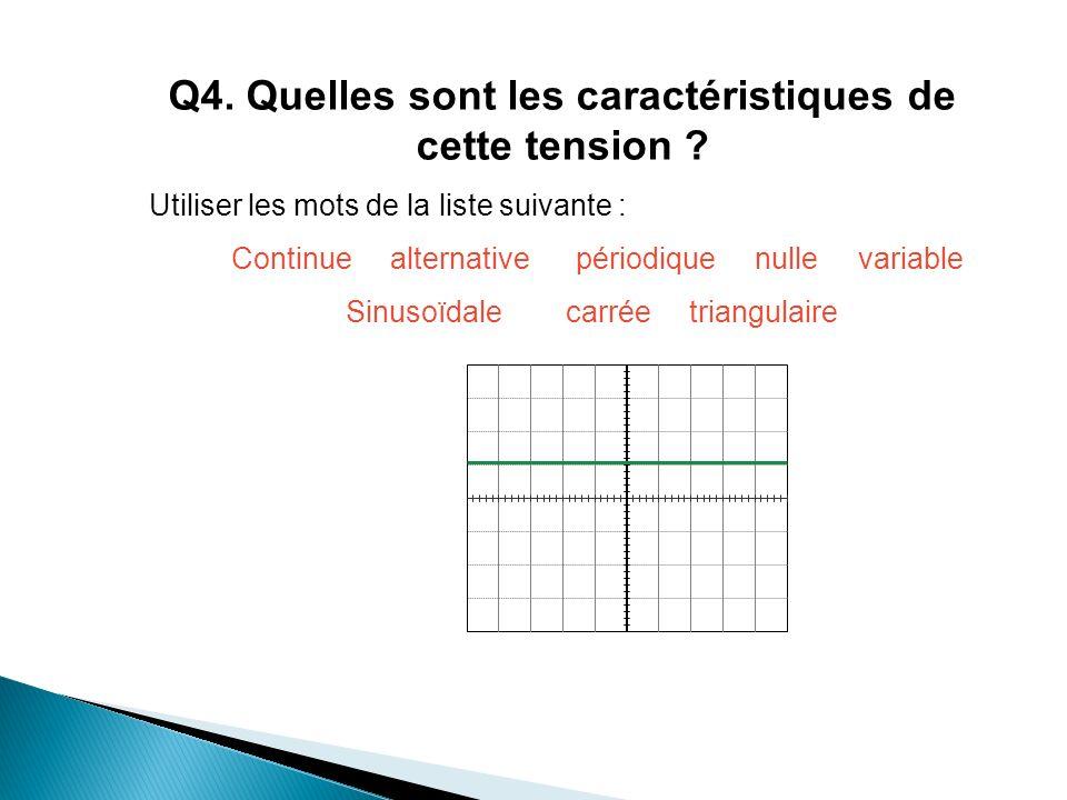 Q4. Quelles sont les caractéristiques de cette tension
