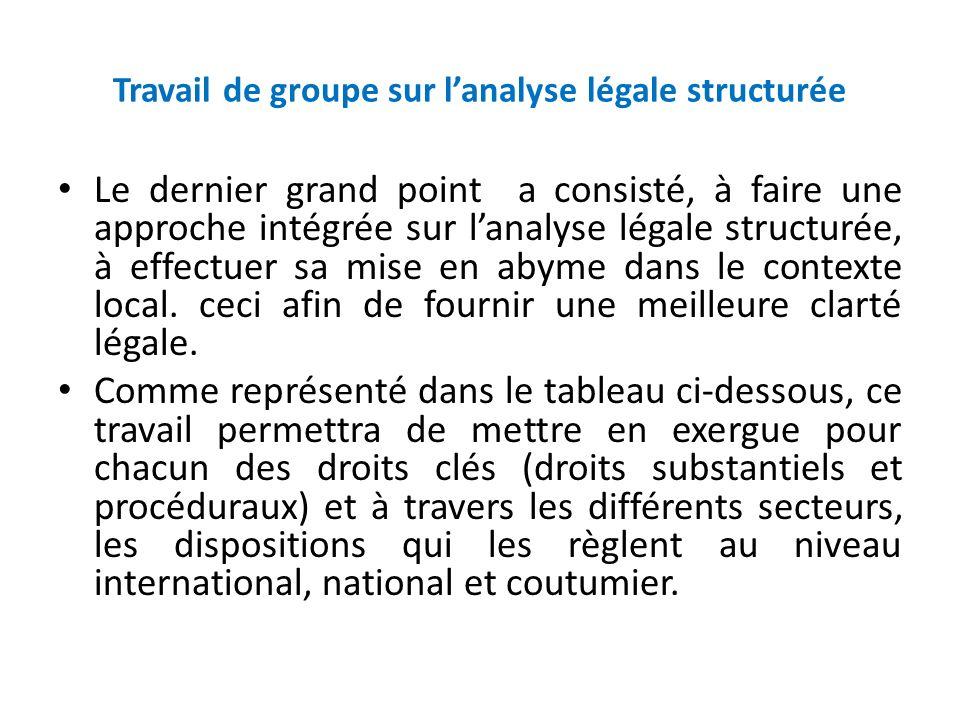 Travail de groupe sur l'analyse légale structurée