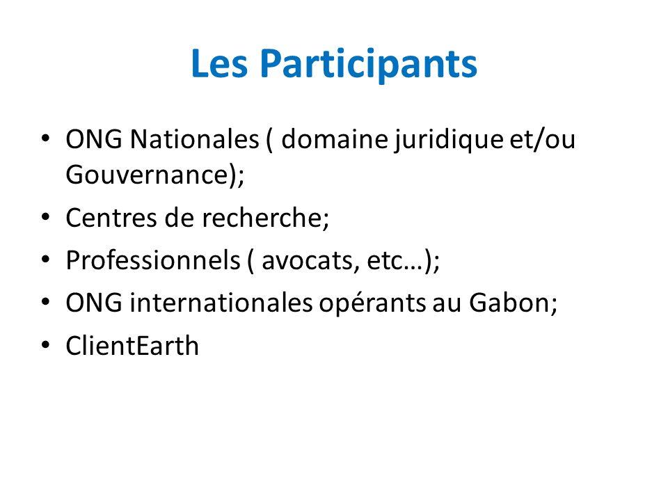 Les Participants ONG Nationales ( domaine juridique et/ou Gouvernance); Centres de recherche; Professionnels ( avocats, etc…);
